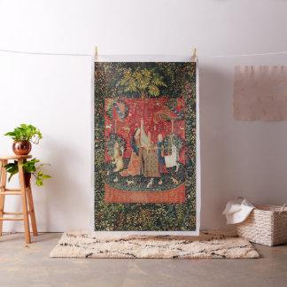 EENHOORN EN DAME PLAYING ORGAN Rode Groene Bloemen Stof