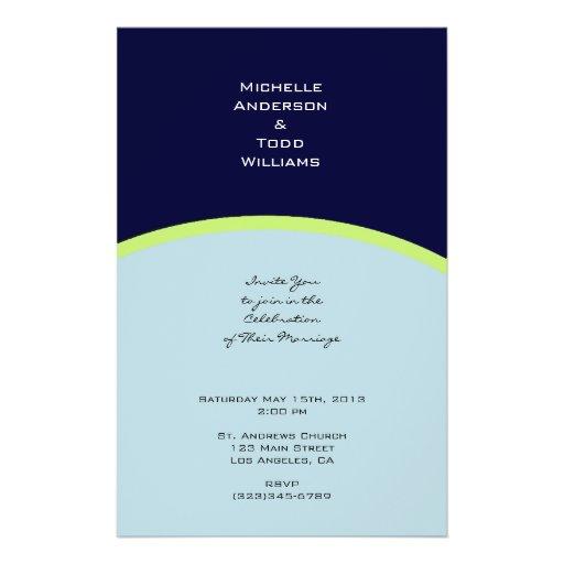 Eenvoudig lichtblauw en citroen-limoen huwelijk folder