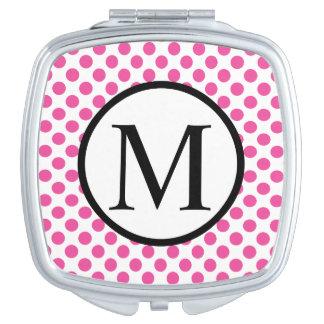 Eenvoudig Monogram met Roze Stippen Make-up Spiegeltje