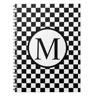 Eenvoudig Monogram met Zwart Schaakbord Ringband Notitieboek