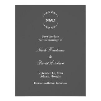 Eenvoudige grijze het huwelijksaankondiging van 10,8x13,9 uitnodiging kaart