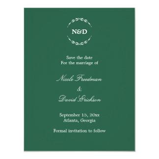 Eenvoudige groene het huwelijksaankondiging van 10,8x13,9 uitnodiging kaart
