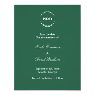 Eenvoudige groene het huwelijksaankondiging van kaart