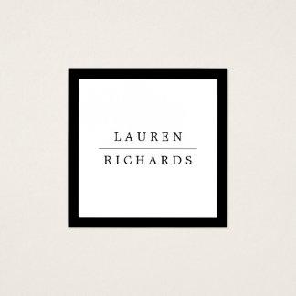 Eenvoudige Professionele Zwart-witte Luxe Vierkante Visitekaartjes