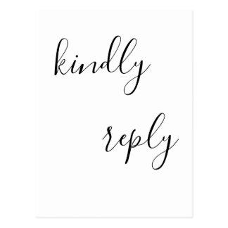 Eenvoudige van letters voorziende rsvp briefkaart
