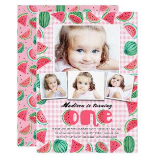 Eerste Partij van de Verjaardag | Watermeloen | 12,7x17,8 Uitnodiging Kaart
