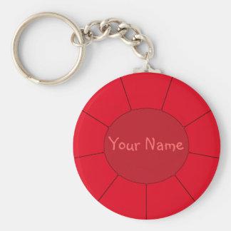 Effets modernes rouges de porte - clé + Votre nom Porte-clé Rond