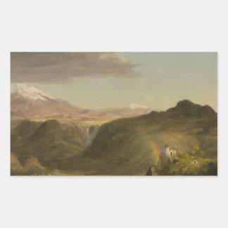 Église de Frederic Edwin - paysage sud-américain Sticker Rectangulaire