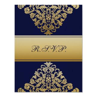 "elegant gold ""navy blue"" wedding RSVP 4.25"" X 5.5"" Invitation Card"