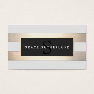 Elegant Gouden en Zwart Gestreept Monogram Visitekaartjes