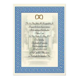 Élégant principal bleu de faire-part de mariage
