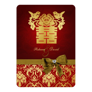 Elegant Rood en Gouden Chinees Dubbel Geluk 12,7x17,8 Uitnodiging Kaart