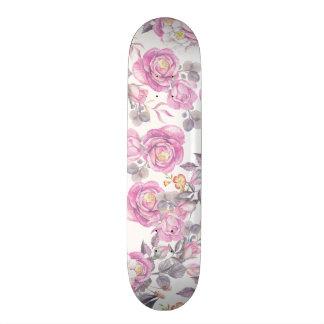 Élégant rougissent l'aquarelle grise rose florale skateboards personnalisés