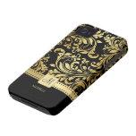 Elegant Zwart en Gouden Damast met Monogram iPhone 4 Cases
