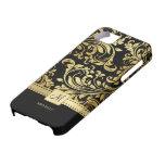 Elegant Zwart & Gouden Damast met Monogram iPhone 5 Case