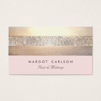 Elegante en Elegante Gouden Lichtrose Gestreept Visitekaartjes