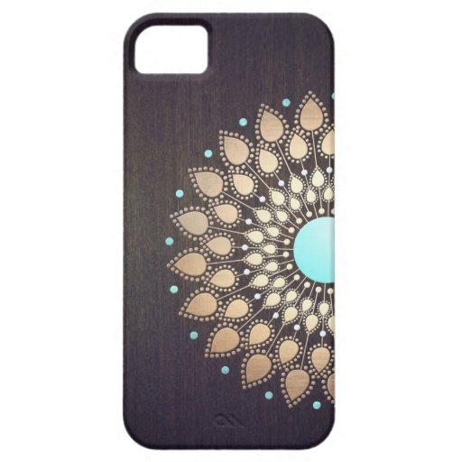 Elegante Gouden Bloemen van de Bloem van Lotus Hou iPhone 5 Case