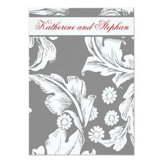 elegante grijze en witte huwelijksverjaardag 12,7x17,8 uitnodiging kaart