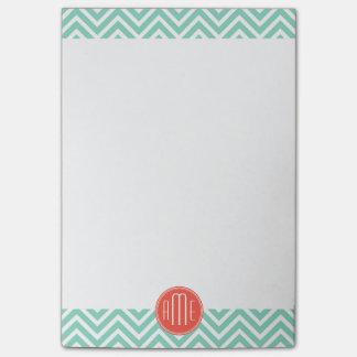 Elegante Groene Chevron Aqua en het Oranje Post-it® Notes