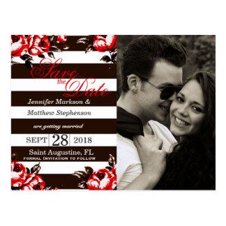 Elegante Moderne Rode Bloemen & Zwarte & Witte Briefkaart