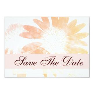 Elegante Perzik Daisy Flower Save The Date Kaart