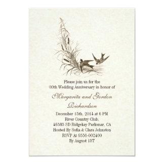 elegante vintage huwelijksverjaardag 12,7x17,8 uitnodiging kaart