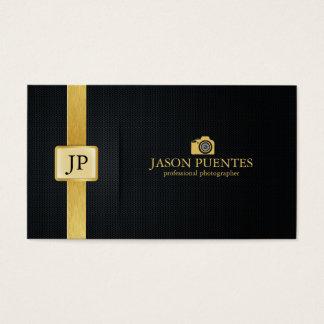 Elegante Zwarte en Gouden Professionele Fotograaf Visitekaartjes