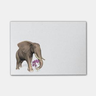 Éléphant avec l'orchidée rose