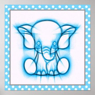 Éléphant bleu de bébé de dessin au crayon de bande poster