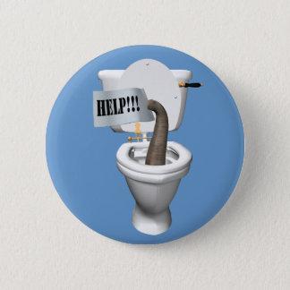 Éléphant coincé dans la toilette badge rond 5 cm