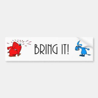 Éléphant contre l'âne… Apportez-le ! Autocollant De Voiture