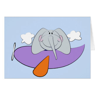 Éléphant dans l'anniversaire de enfant d'avion carte de vœux