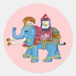 éléphant d'Asie de fantaisie Autocollants Ronds