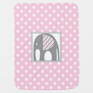 Éléphant de bébé rayures roses et grises de   de couvertures pour bébé