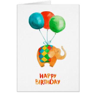 Éléphant de joyeux anniversaire et blanc de carte