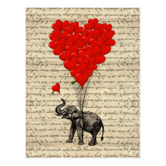 Éléphant et ballons en forme de coeur carte postale
