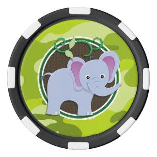 Éléphant mignon ; camo vert clair, camouflage rouleau de jetons de poker
