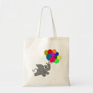 Éléphant mignon de bébé avec des ballons sac en toile budget