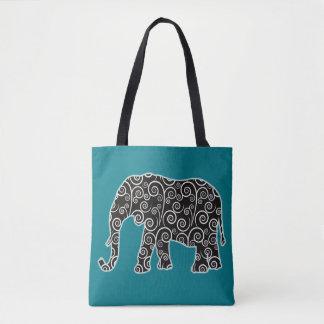 Éléphant noir et blanc de remous sur le sac