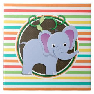 Éléphant Rayures lumineuses d arc-en-ciel Carreaux En Céramique