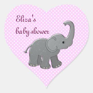 éléphant rose de baby shower sticker cœur