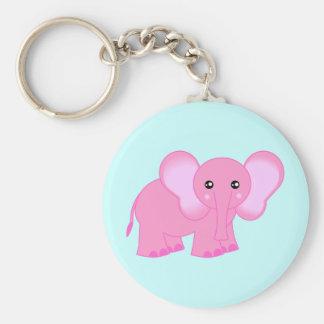 Éléphant rose mignon de bébé porte-clé rond