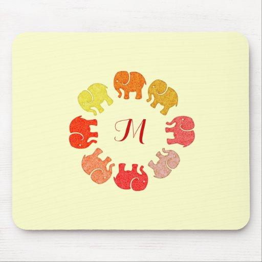 Éléphants élégants mignons à la mode de monogramme tapis de souris
