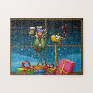 Elf accrochant vers le haut des bas puzzle
