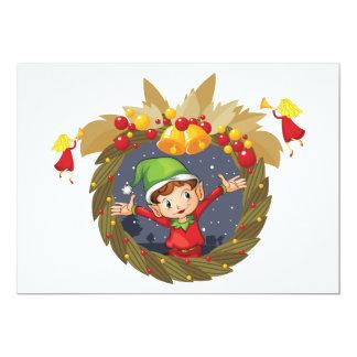 Elf dans des invitations d'une guirlande de Noël