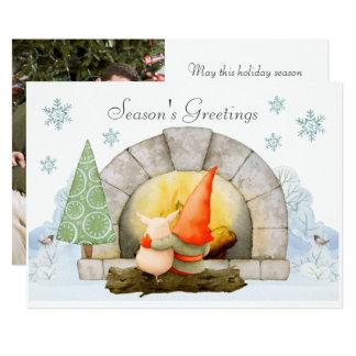 Elf mignon et carte de Noël de photo de porc