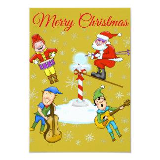 Elfes et invitation de fête de Noël de Père Noël