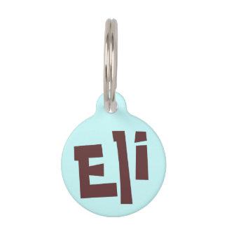 Eli Brown foncé sur l'étiquette bleu-clair de nom  Plaques D'identité Pour Animaux