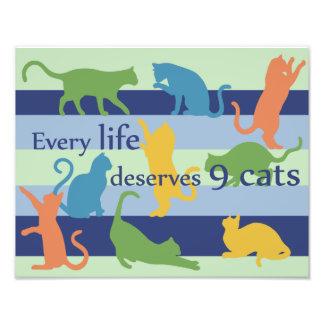 Elk Leven verdient Citaat van de Kat van 9 Katten Foto Afdruk