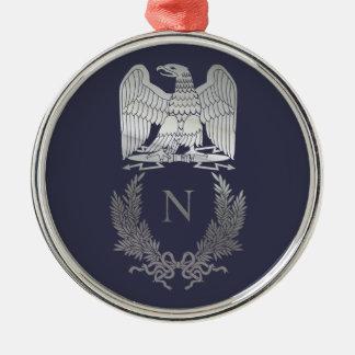 Emblème de Napoleon Bonaparte Ornement Rond Argenté